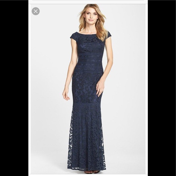 Tadashi Shoji Dresses | Navy Textured Lace Mermaid Gown | Poshmark